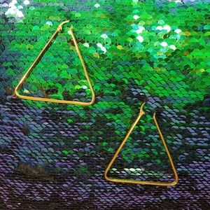 Triangle Gold Metal Wire Hoops